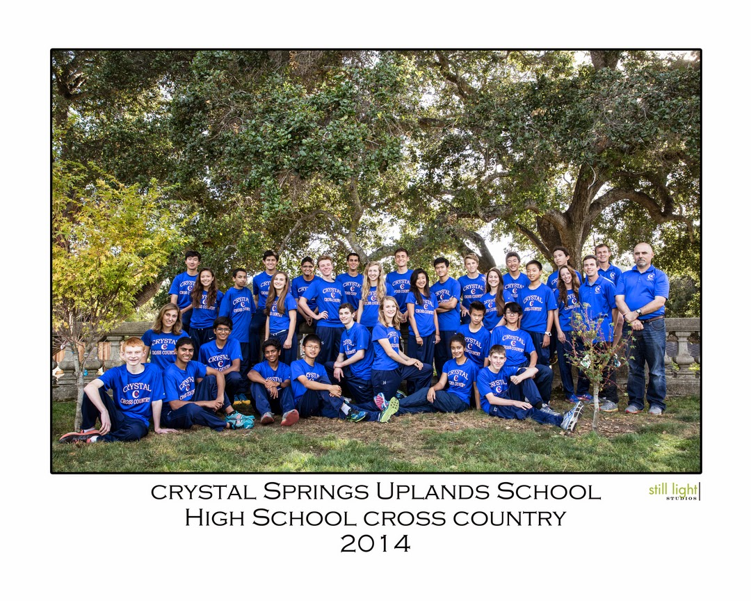 Hillsborough Crystal  Springs Uplands Cross Country Team Photo by Still Light Studios, School Sports Photography and Senior Portrait in Bay Area, cinematic, nature