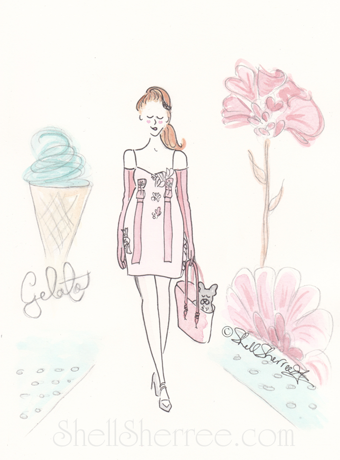 fashion illustration, Shell Sherree, French bulldog Prada illustration