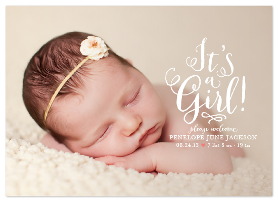 birth announcement for minted, full bleed
