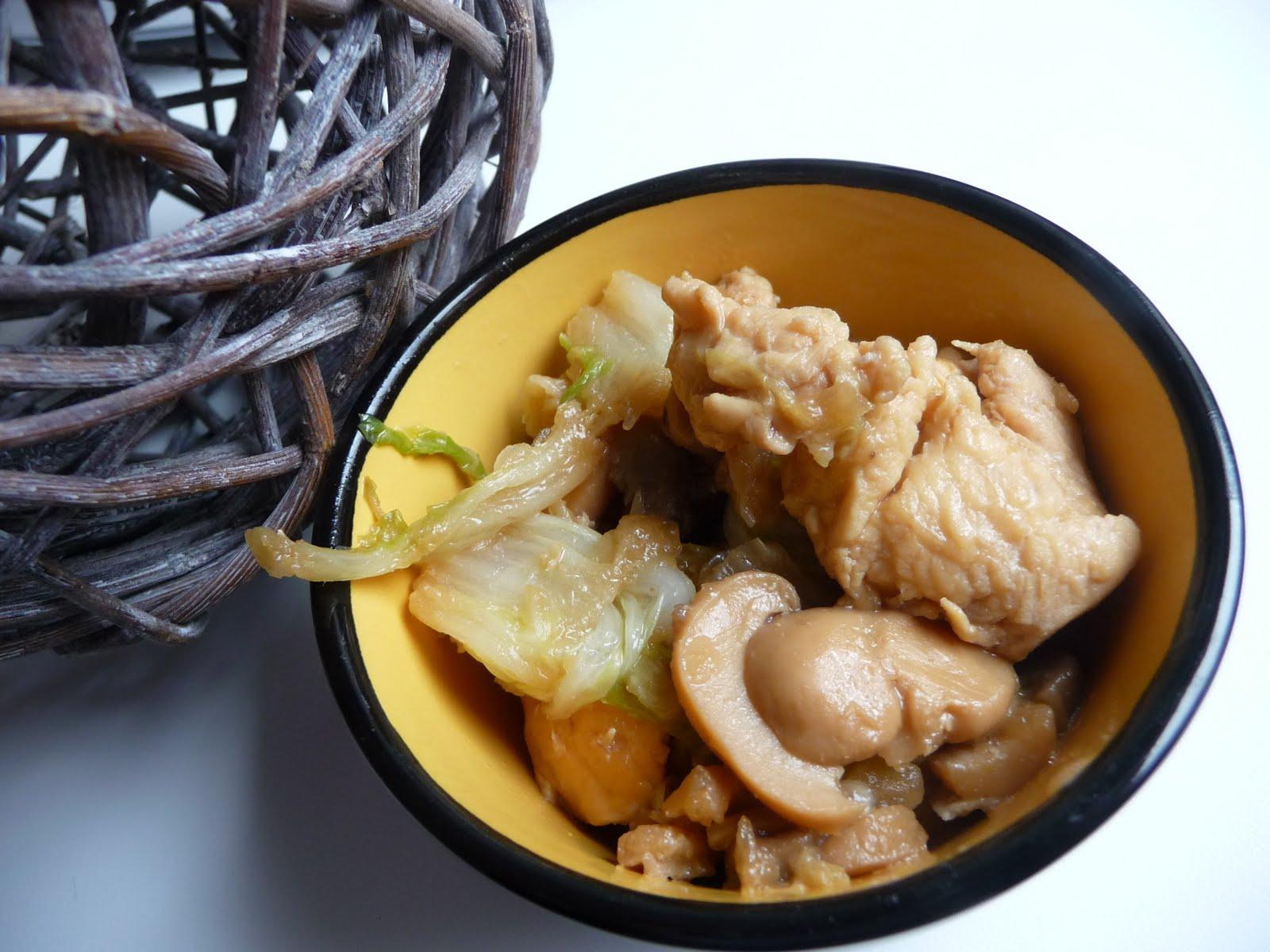 Papilles on off poulet au chou chinois et champignons au thermomix - Cuisiner du choux chinois ...