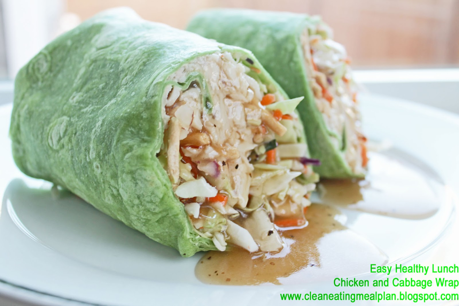 healthy lunch recipe chicken and cabbage wrap