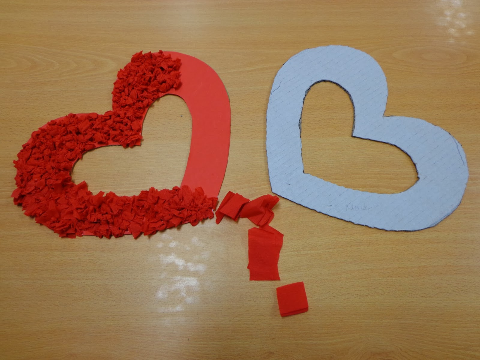 cardboard and crepe paper valentines