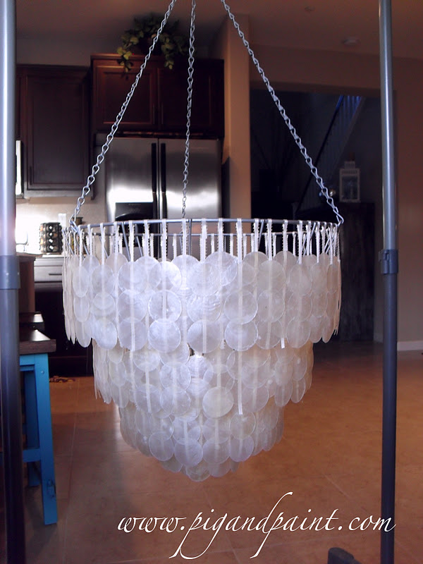 Pig and Paint How to Make a DIY Capiz Shell Chandelier – Diy Shell Chandelier