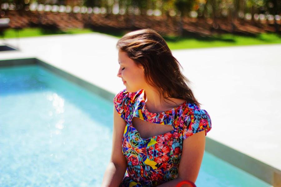 model shooting fashion blogger dress