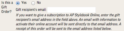 Associated Press online order form - the part for gift orders