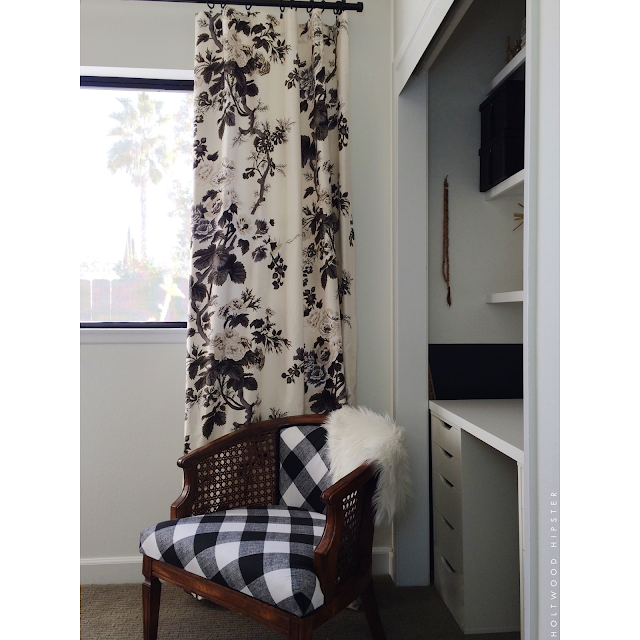 One Room Challenge Black and White Interiors Buffalo Check Chintz