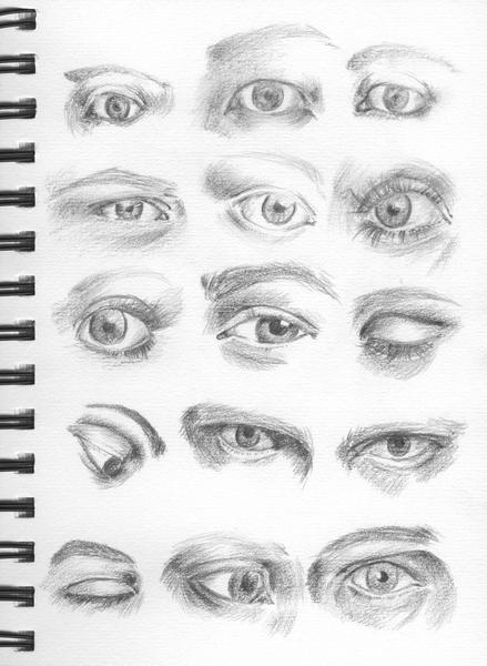 pair of eyes drawing pencil