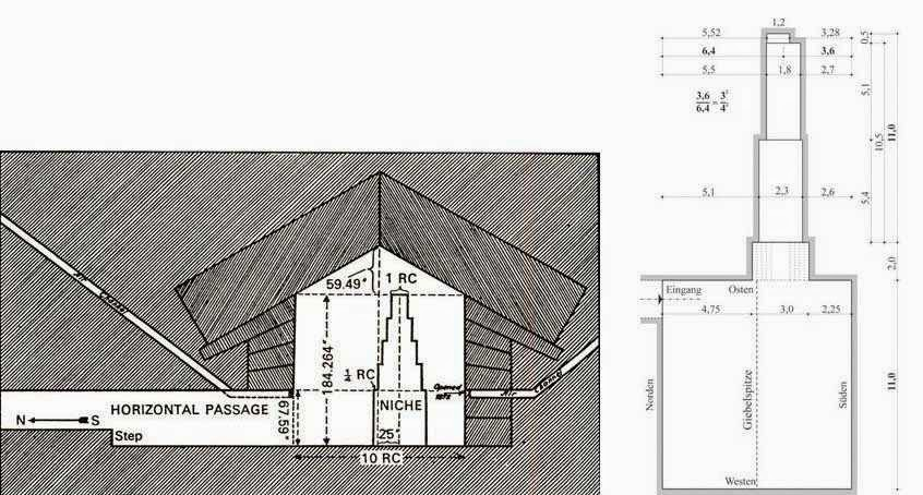 drawing of six-mode resonator of khufu pyramid queen's chamber