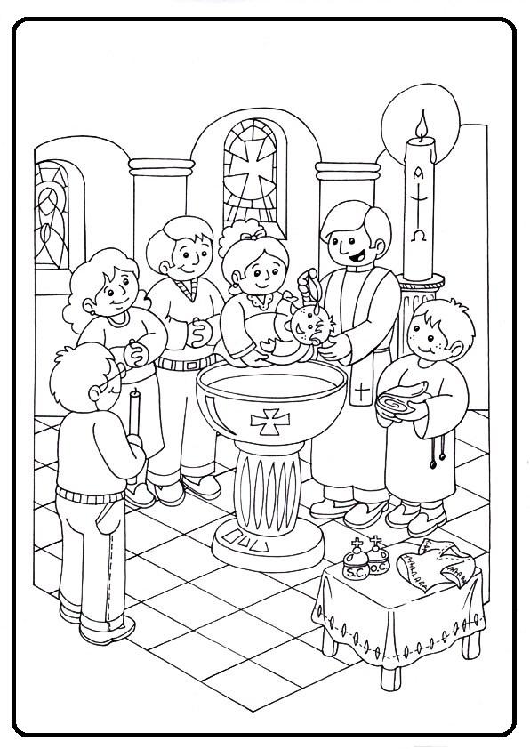 Perfecto Bautismo Para Colorear Para Niños Ilustración - Dibujos ...