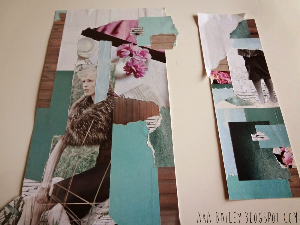 Two collages, white, wood, turquoise, pink