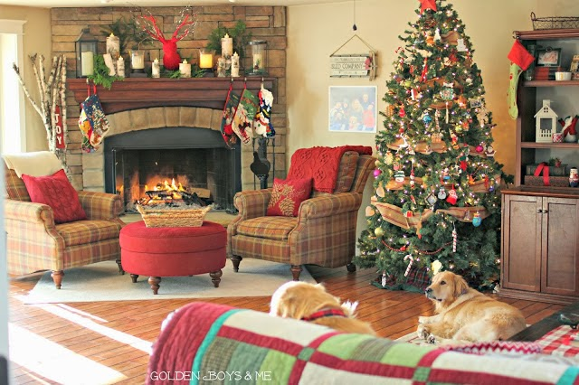 Stone fireplace in family room at Christmas Home Tour-www.goldenboysandme.com