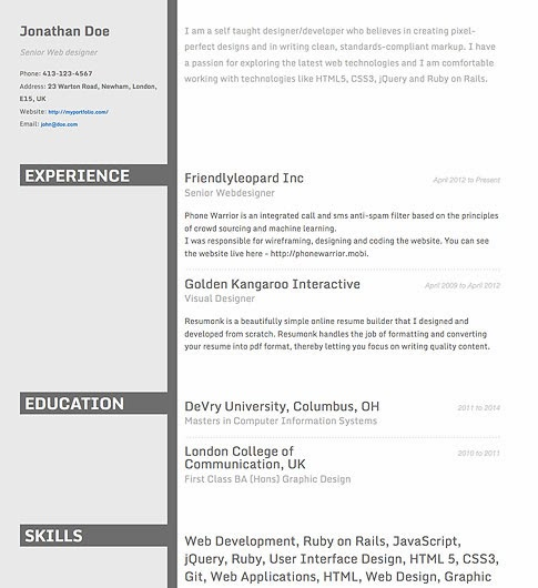 Create A Beautiful And Professional Résumé (CV) In Minutes →