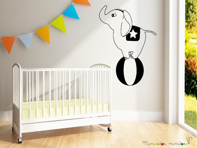 vinilo pared decoración elefante circo circus vinyl interiorismo interiores decorar