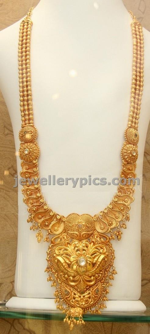 Trendy Gold Haram design by Kirtilal Latest Jewellery Designs