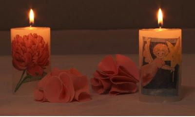 Duas velas artesanais decoradas com decoupage - Exemplos