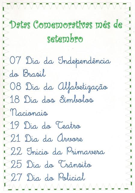Divertindo com a Matemática: Datas comemorativas do mês de Setembro