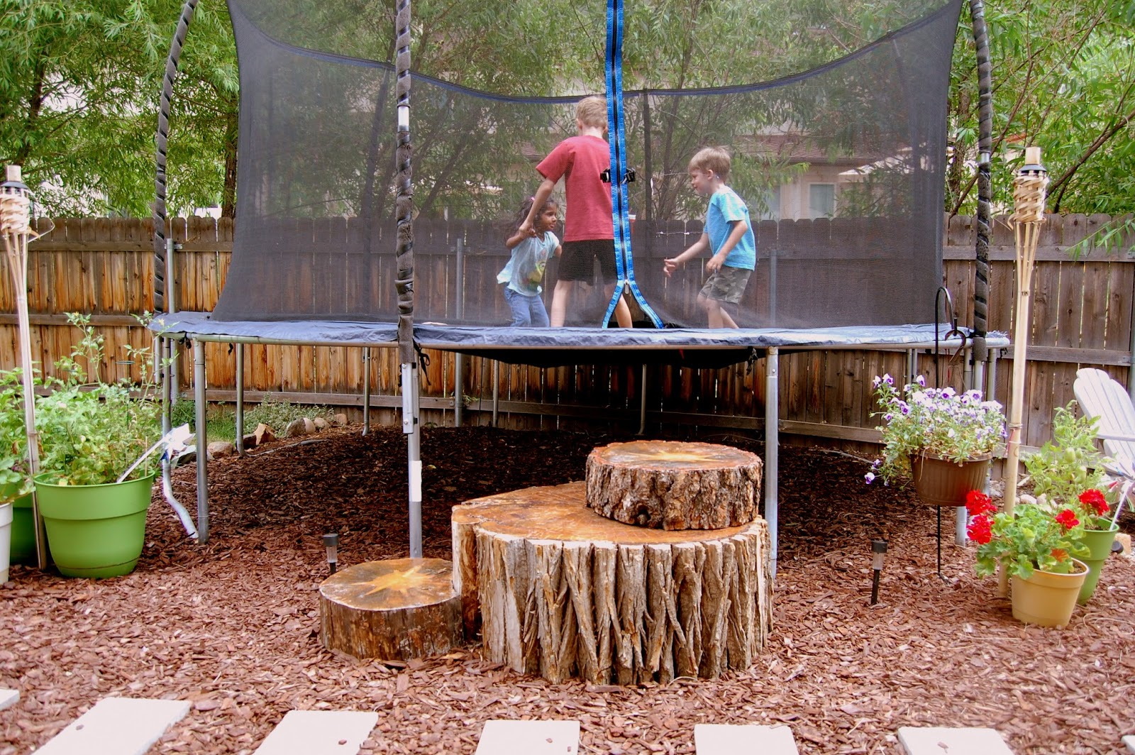 Tree Stump Trampoline Steps