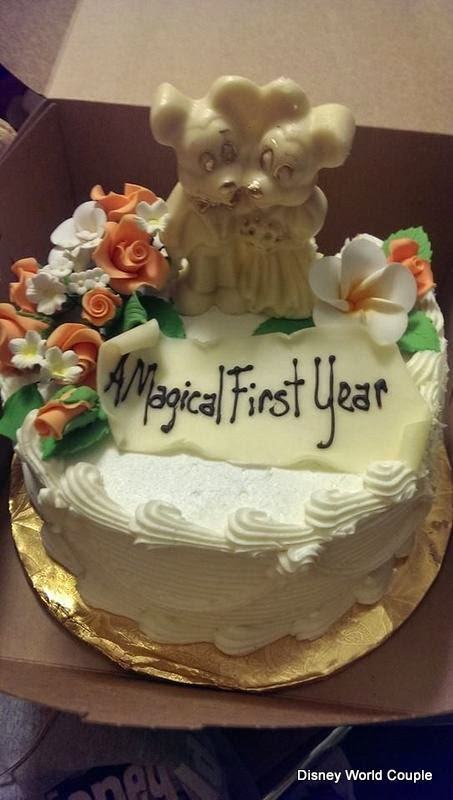 Below Is A Picture Of Special Cake We Ordered For Our One Year Anniversary This Was Delivered To Table At Be Guest In Magic Kingdom