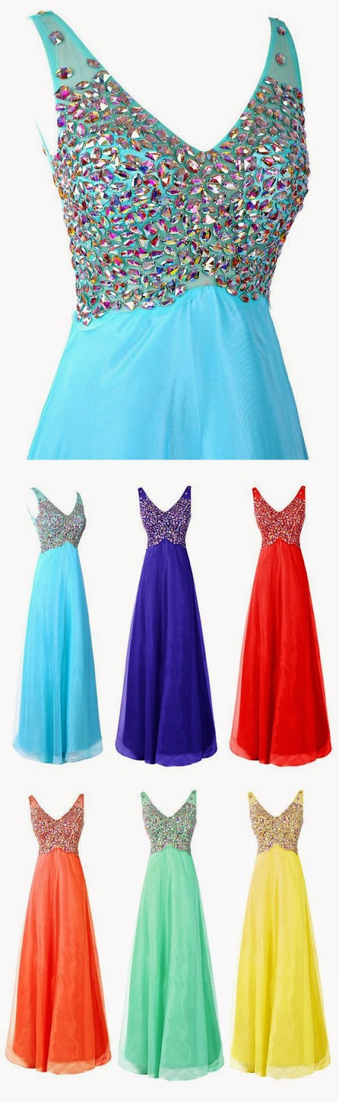Mix Color A-line V Neck Chiffon Long Prom Dress With Rhinestone #prom #evening #party #dress
