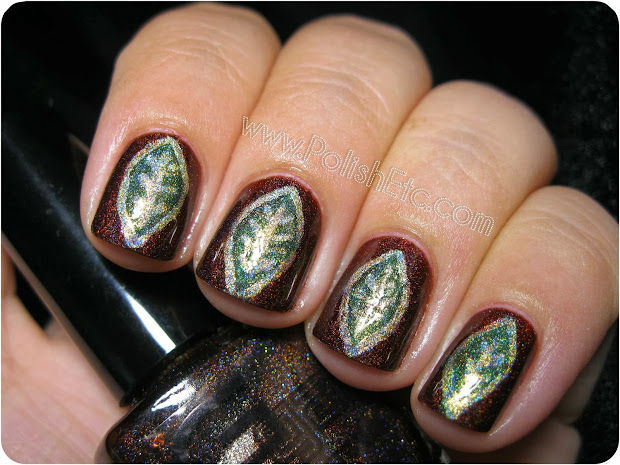 brown and green holographic leaf