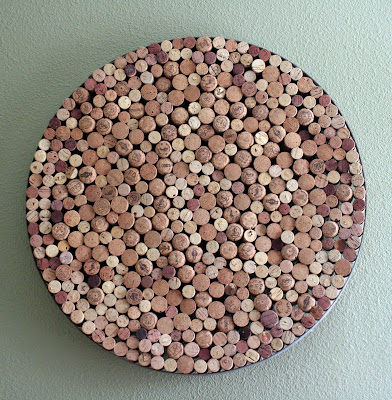 cork art using a wine barrel hoop - tipsyterrier.blogspot.com