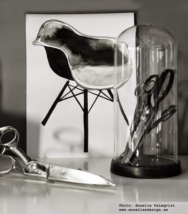 konsttryck, artprint, artprints, svart och vitt, svartvita tavlor, stolar, stol, stolen, design, designstolar, fina tavlor, gråskala, saxar, stilleben, inredning, inredningsblogg,