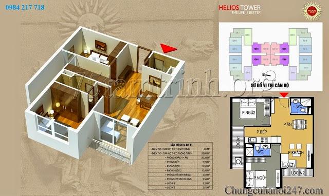 Mặt bằng thiết kế căn hộ 1211A chung cu helios tower 75 tam trinh