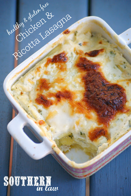 Our Favourite Healthy Chicken and Ricotta Lasagna Recipe - low fat, gluten free, high protein, healthy, clean eating friendly, lasagna recipe without tomatoes