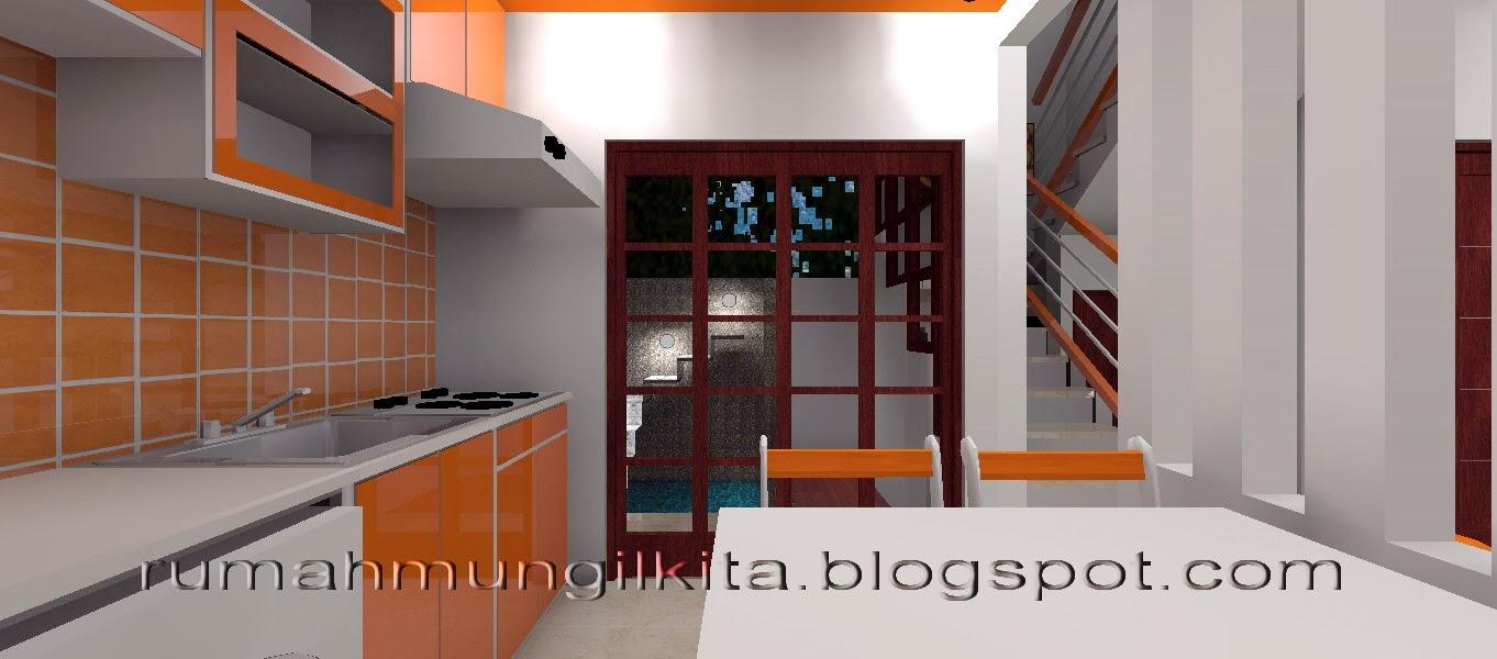 ruang makan menyatu dapur oranye