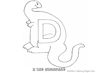 Alphabet Coloring Pages D For DINOSAUR