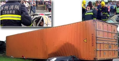 Chinese Woman  Miraculous Escape After Giant Container Crushes Her Car