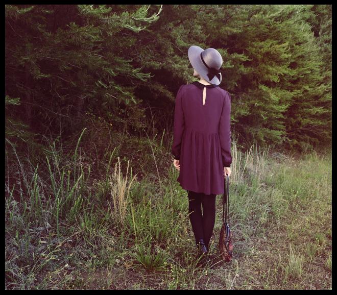 smock dress, vintage hat