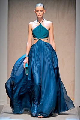 Blue halter ball gown chiffon tulle special occasion dress