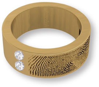 14k Gold Fingerprint Band with Diamonds