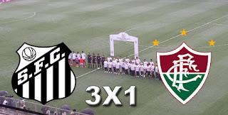 Placar Santos 3x1 Fluminense