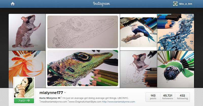 色鉛筆などを駆使して、リアルな動物を描くKarla Mialynne