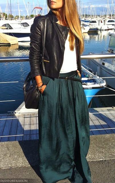 dark teal silk maxi skirt. white tee. leather jacket.