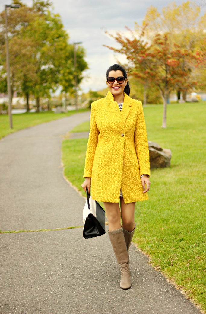 Yellow Coat, Bright Yellow Coat, Yellow Coat for winter, Yellow Wool Coat, Long yellow coat
