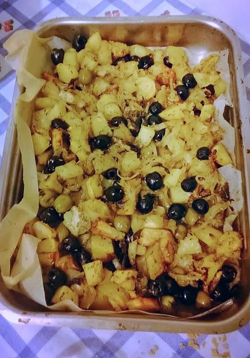 patate olive e cipolle al forno