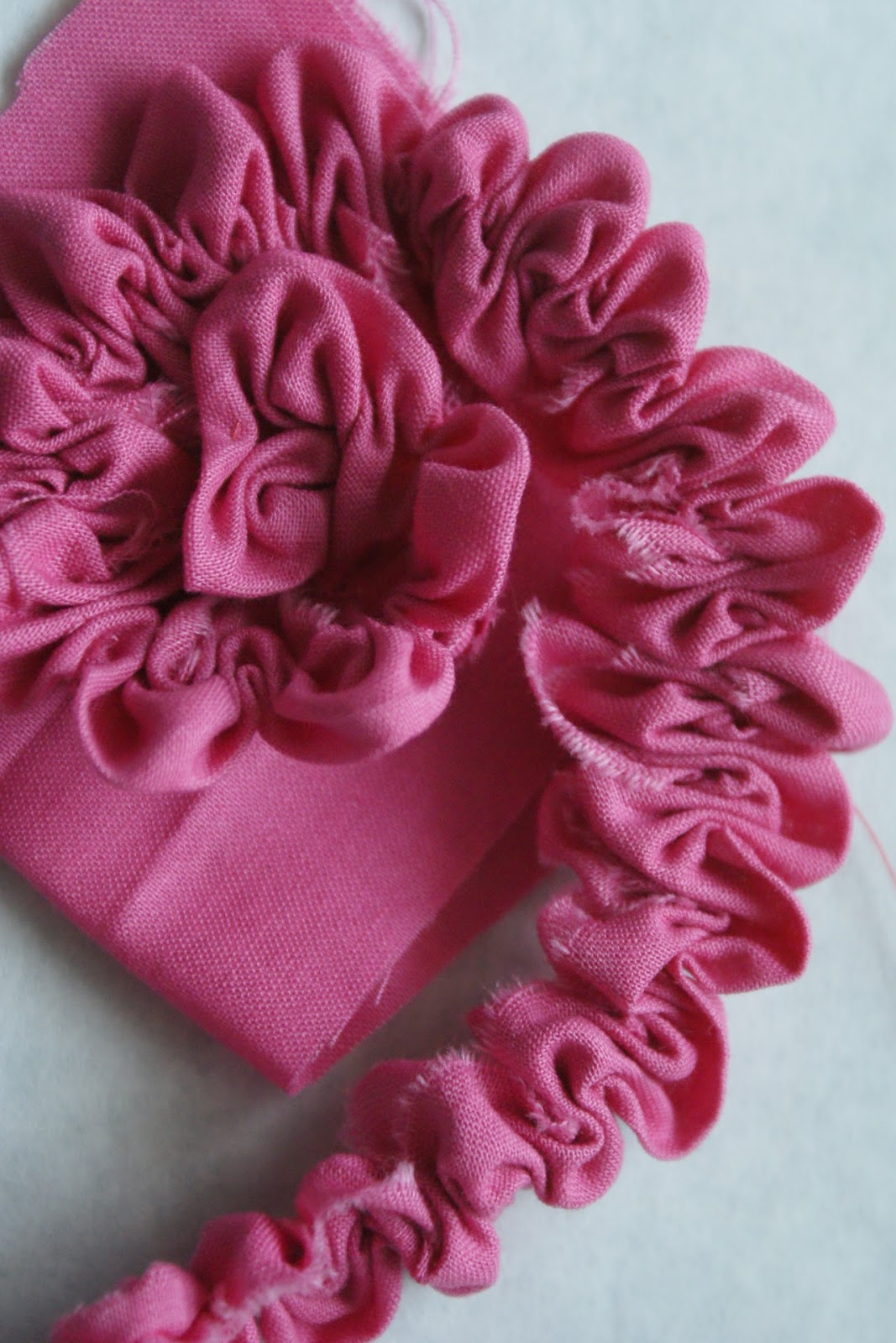 an johnson sews Ruched Fabric Flower Tutorial