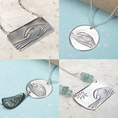ocean wave handmade artisan jewelry recycled silver beach summer nautical necklace