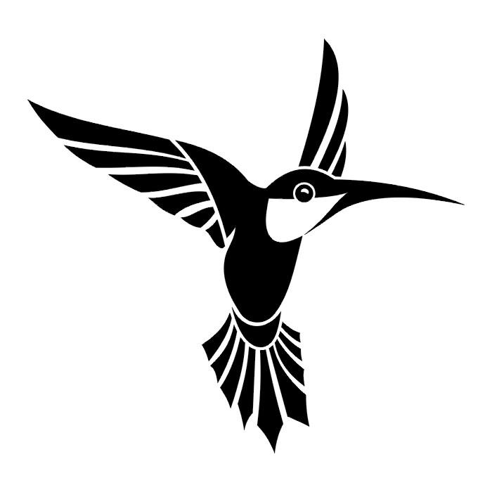 Эскиз колибри черно белая тату 111