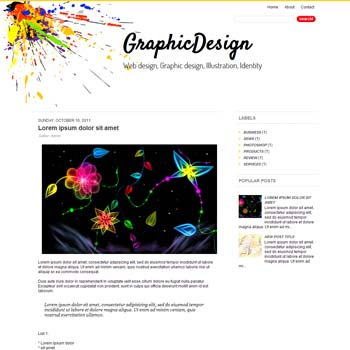 Graphic Design blog template. download blogger template gallery style