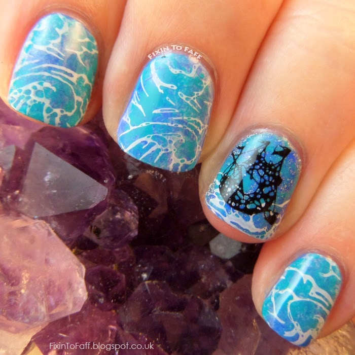 A derelict ghost pirate ship, sailing on turbulent stormy seas nail art for the Avast Ye Bilge Rats pirate-themed nail art challenge.