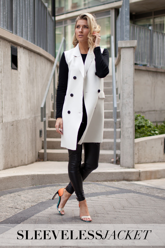 topshop premium sleeveless jacket, Aritzia Dara Leggings, Nicholas Kirkwood Shoes