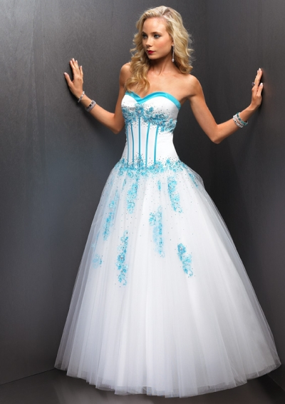 Strapless sweetheart white Ball Gown Long Prom Dress with blue color accents