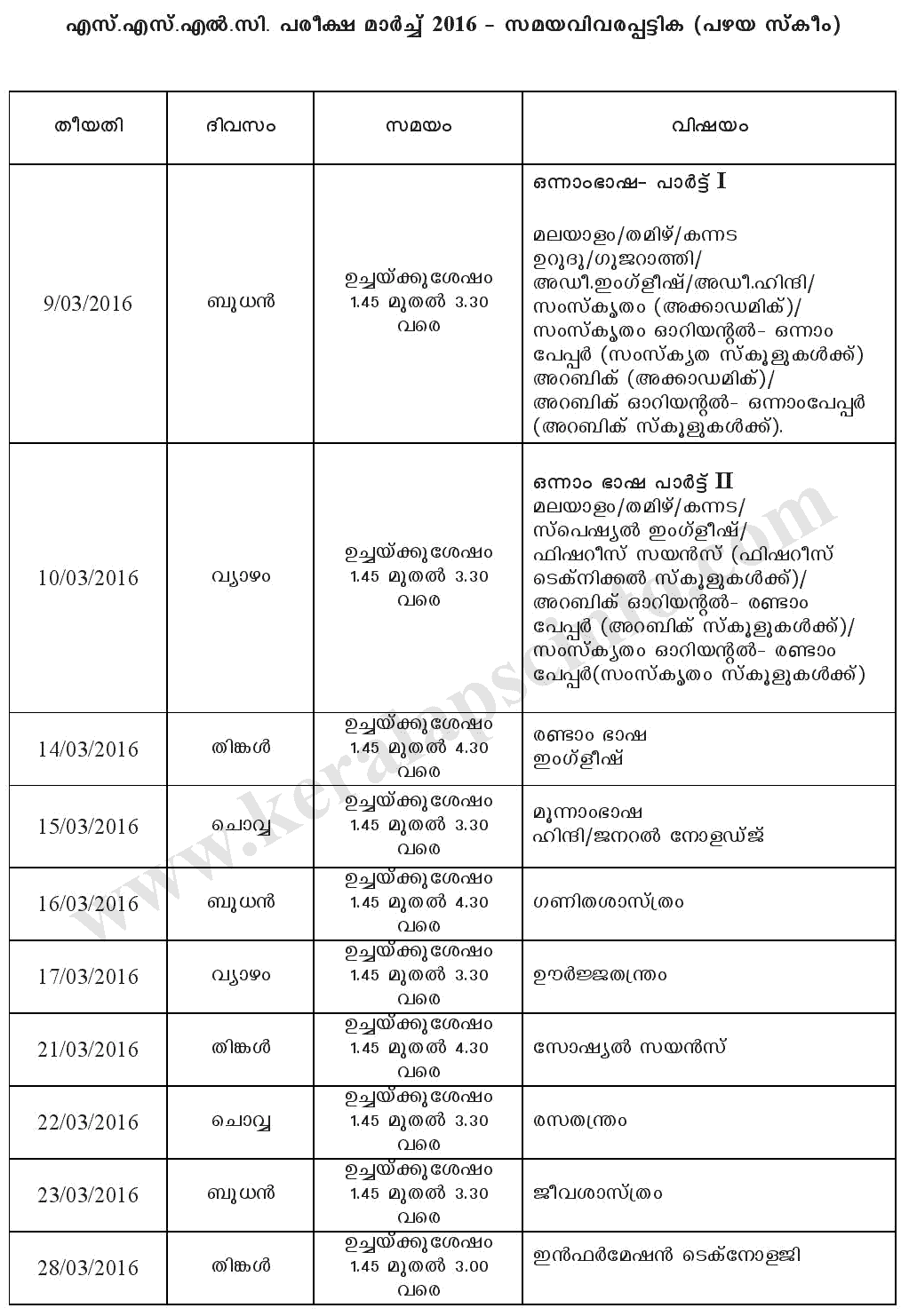 Kerala pareekshabhavan sslc march exam timetable 2016 for 10th time table 2016
