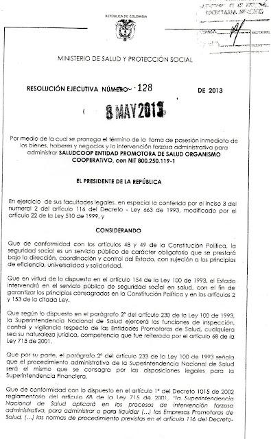 Gobierno prorroga la intervención a SaludCoop EPS otro año más ...