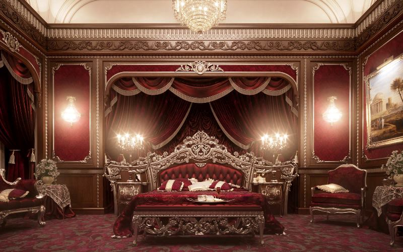 elegant furniture and lighting. Luxury European Furniture For Bedroom Classic Royal Crown Design With Elegant Crystal Lighting And Lounge Chair Exotic Romantic Wall Decor Red Curtain