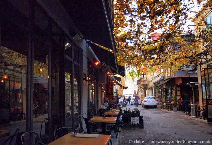 wandering through the café lined, pedestrian streets in Karaköy, Istanbul